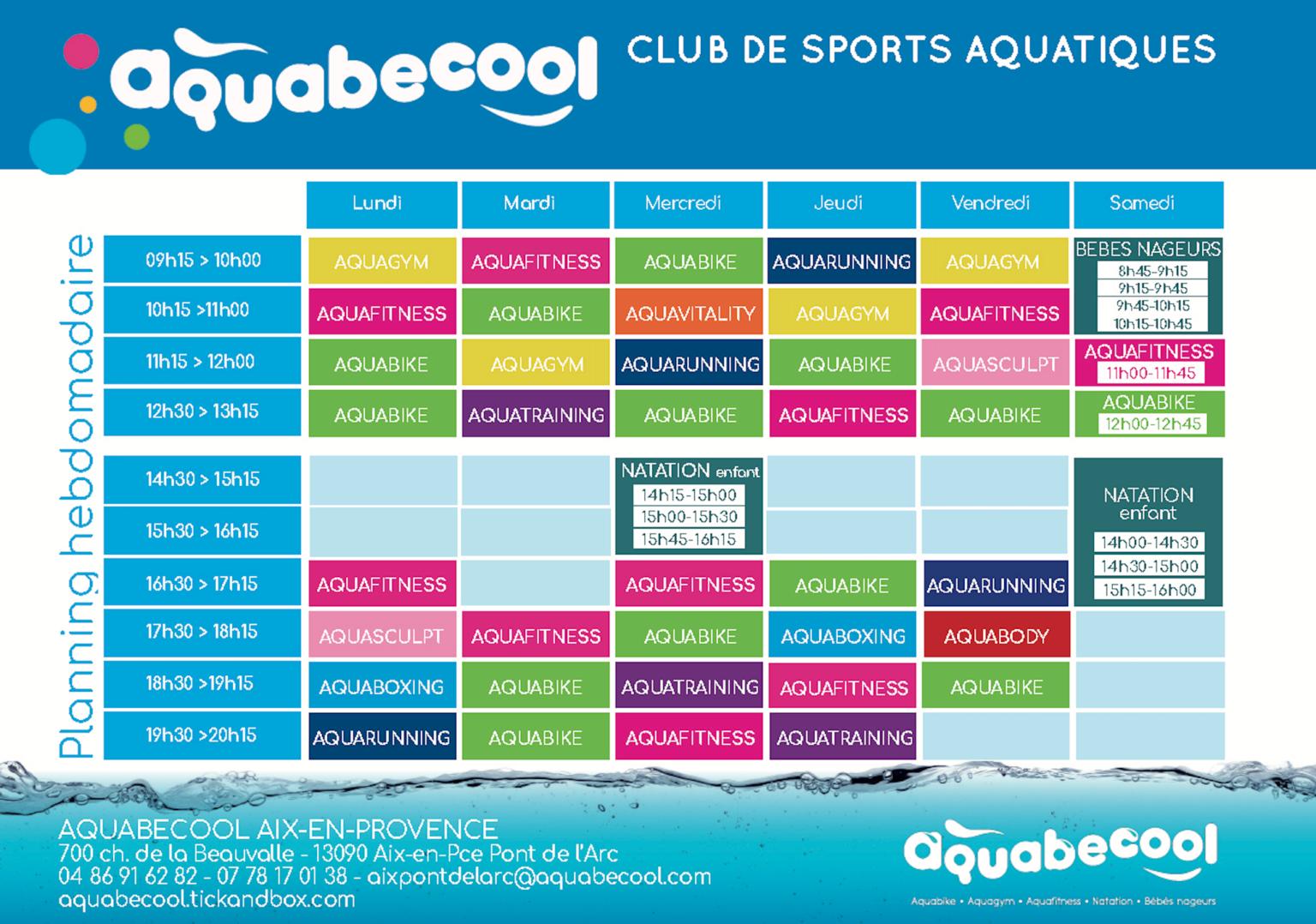 planning aquabecool - aquabike aix en provence